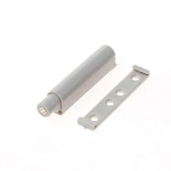 Afbeelding van Druksnapper, met magnetische vergrendeling voor mechanische openingsondersteuning en vergrendeling voor meubeldeuren–, lichtgrijs, kunststof, om te schroeven
