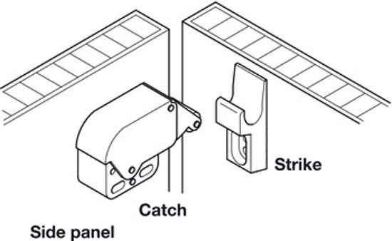 Afbeelding van Veersluiting met snapper, Mini-Latch, om te schroeven, snapper sluiting: vernikkeld/wit, tegenstuk: wit