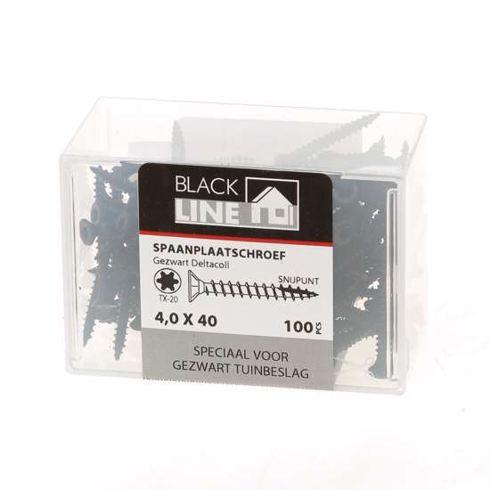 Afbeelding van Hoenderdaal Spaanplaatschroef zwart platverzonken kop TX20 4.0X40