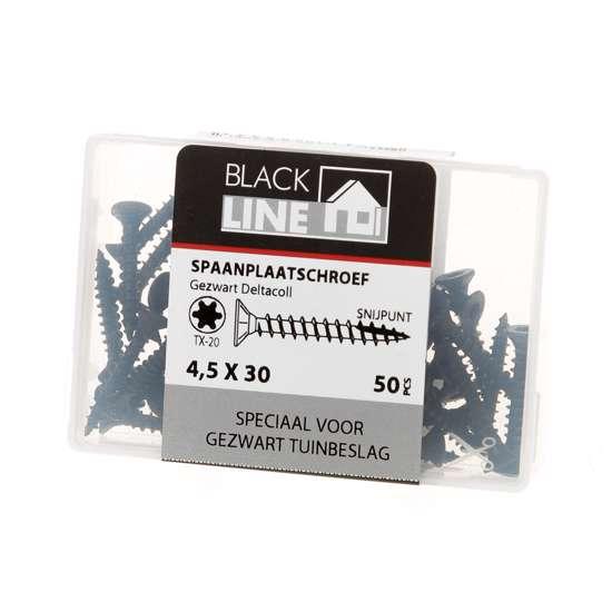 Afbeelding van Hoenderdaal Spaanplaatschroef zwart platverzonken kop TX20 4.5X30