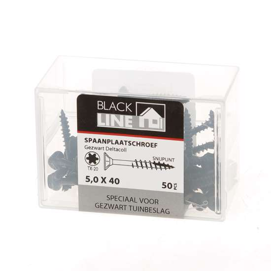 Afbeelding van Hoenderdaal Spaanplaatschroef zwart platverzonken kop TX20 5.0X40