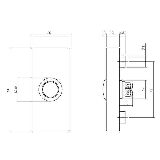 Afbeelding van Beldrukker rechthoekig verdekt 65x30x10mm rvs