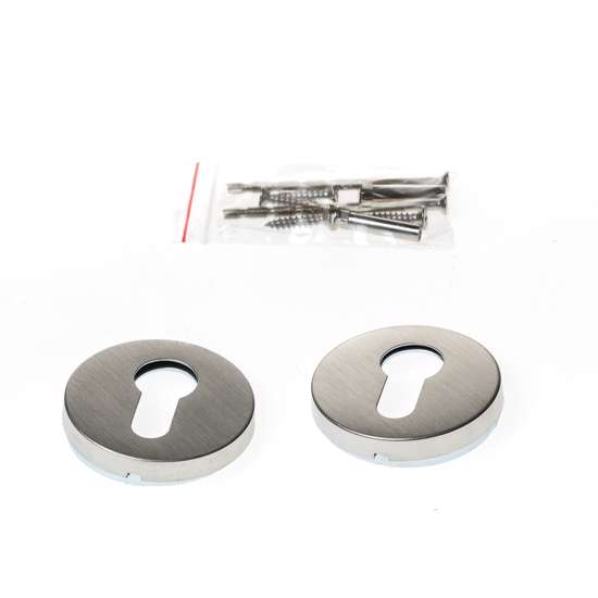 Afbeelding van Cilinderrozet rond roestvaststaal voor deurdikte 37-42mm met cilindergatsparing
