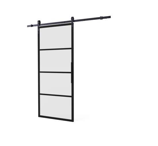 Afbeelding van DIY-schuifdeur Cubo zwart inclusief mat glas, afmeting deur 2350x980x28mm + zwart ophangsysteem type Basic