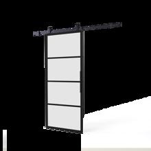 Afbeeldingen van DIY-schuifdeur Cubo zwart inclusief mat glas, afmeting deur 2150x980x28mm + zwart ophangsysteem type Basic Top