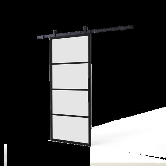 Afbeelding van DIY-schuifdeur Cubo zwart inclusief mat glas, afmeting deur 2350x980x28mm + zwart ophangsysteem type Basic Top