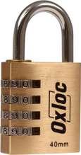 Afbeeldingen van Hangcijferslot 4-cijf.Oxloc mess.40mm