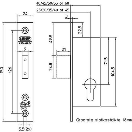 Afbeelding van Nemef Veiligheidsbijzetsmaldeurslot PC72mm type 4128/18-25mm DIN links rechts