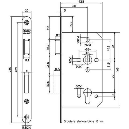 Afbeelding van Nemef Cilinder dag- en nachtslot deurslot type 649/17-kv-60 DIN links