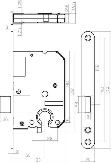Afbeelding van Woningbouw kastslot PC55 zwart doornmaat 50mm inclusief sluitplaat
