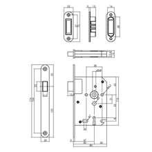 Afbeeldingen van Intersteel magneet klavier woningbouw dag- en nachtslot met zwarte voorplaat 20X175 mm, inclusief sluitkom