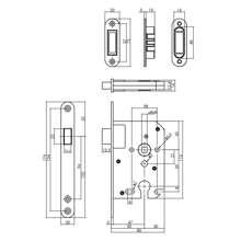 Afbeeldingen van Intersteel magneet cilinder woningbouw dag- en nachtslot PC55 met zwarte voorplaat 20X175 mm, inclusief sluitkom