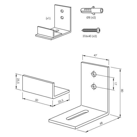 Afbeelding van Verstelbare deurgeleider tbv onderzijde schuifdeur, mat zwart