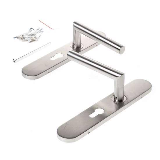 Afbeelding van Deurkrukgarnituur, L-model deurkruk, op schilden, roestvaststaal, PC55, geschikt voor deurdikte 37-56mm