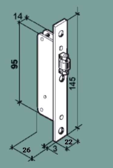 Afbeelding van Rolslot met smalle verzinkte kast, maat 95x26mm. Voorplaat vernikkelt 145x22x3mm.